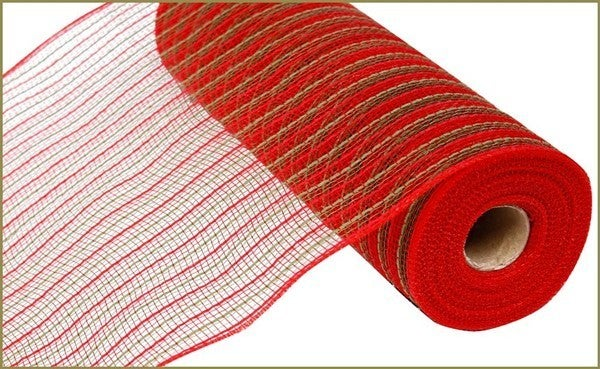 """10.5""""X10YD POLY/FAUX JUTE MESH Color: Red/Moss Green"""