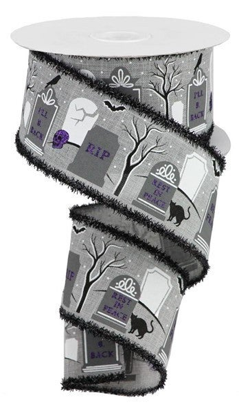 "2.5""X10yd Graveyard/Royal/Tinsel Color: Lt Grey/Purple/Black"