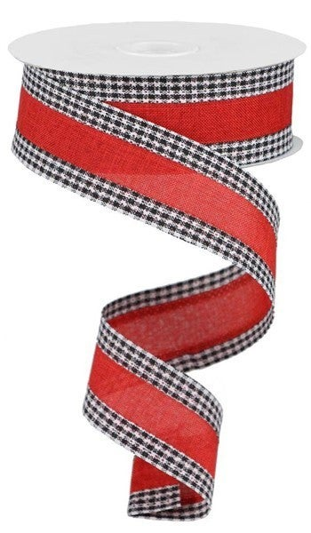 "1.5""X10yd Royal Burlap Gingham Edge Red/Black/White"