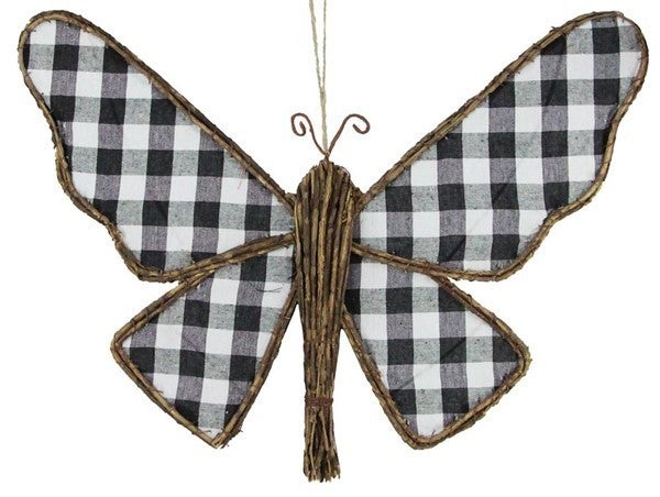 "22""W Fabric/Euonymus Butterfly W/Hanger"