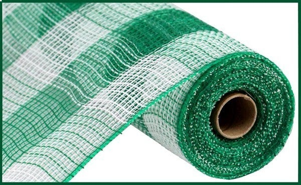 "10.5""X10yd Faux Jute/Pp Large Check White/Emerald Green"