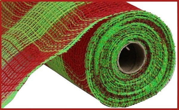 "10.5""X10yd Faux Jute/Pp Large Check Red/Fresh Green"