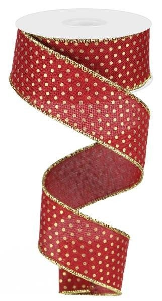 "1.5""X10YD ROYAL SWISS DOTS BURGUNDY/GOLD"
