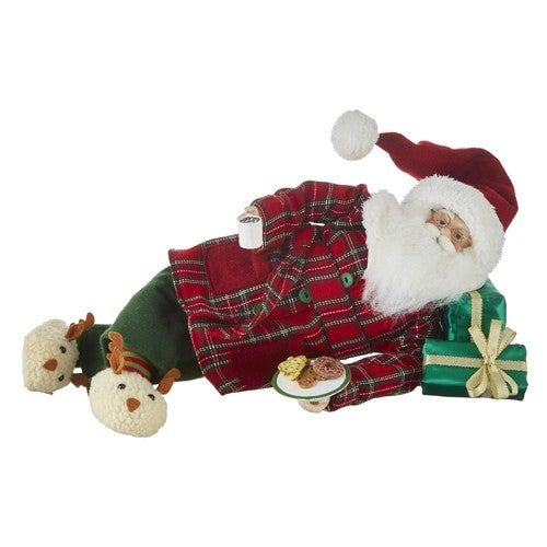 """20"""" SANTA LYING DOWN WITH TRAY OF COOKIES"""