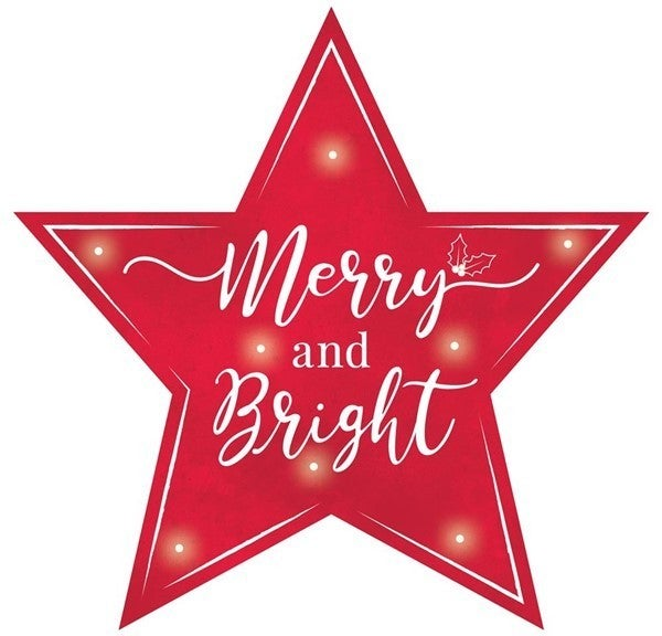 """12""""L Merry/Bright Star Sign W/Lights Red/White"""
