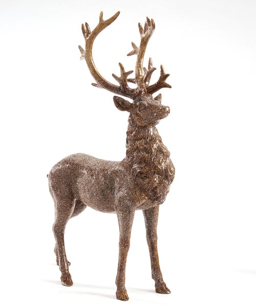 GLITTERED STANDING DEER FIGURINE