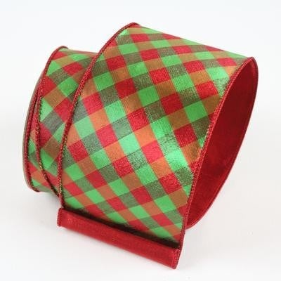 "METALLIC DIAMOND CHECK RIBBON 2.5"" X 10YD / RED GREEN"