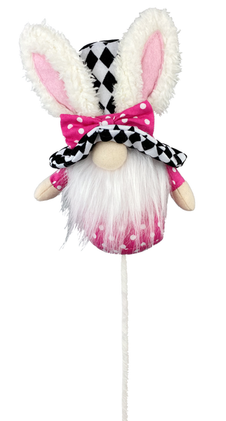 Bunny Harlequin Top Hat Gnome Pick W4xH20 Pink