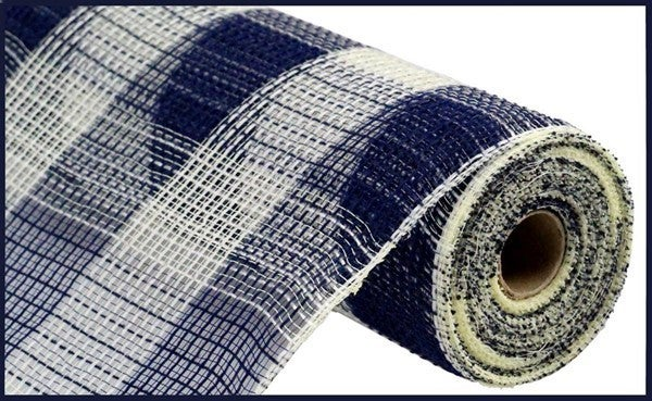 "10.5""X10yd Fabric Mesh Faux Jute/Pp Large Check Navy/Cream"