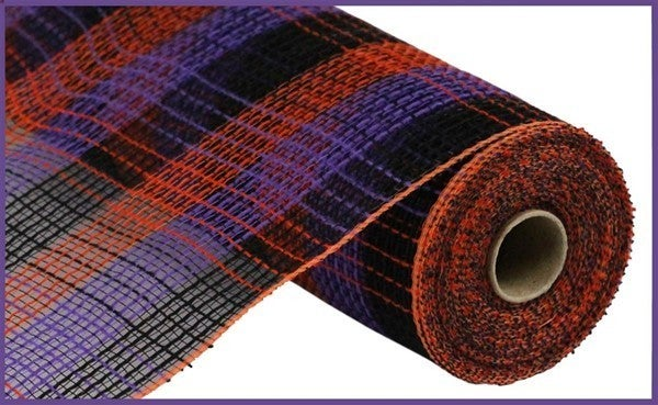 "10.5""X10yd Pp/Faux Jute Small Check Mesh Purple/Orange/Black"