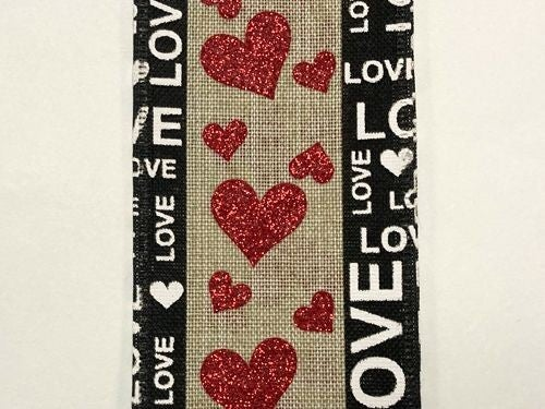 "NAT LINEN/BLK EDGED LOVE-HRTS, 2.5""X10Y"
