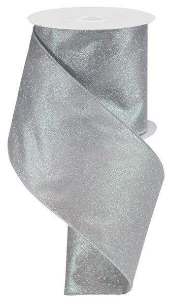 "4""X10yd Iridescent Glitter On Satin Grey/Iridescent"