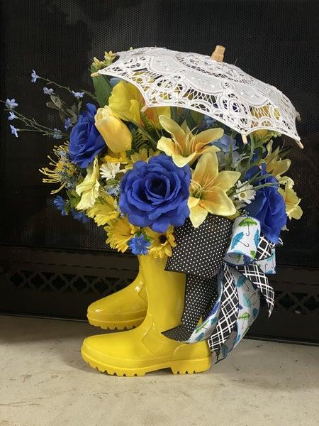 Yellow Rain Boot Door Hanger with umbrella