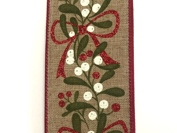 "Dark Natural Linen/Muted Berries-Red Bow 2.5""x10yd"