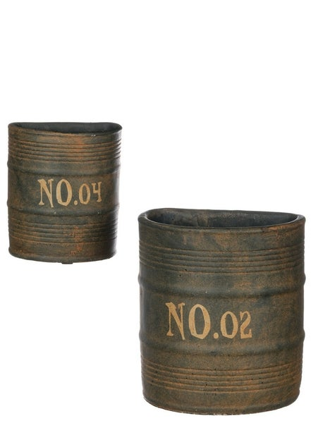 HALF BARREL WALL POT Set 2
