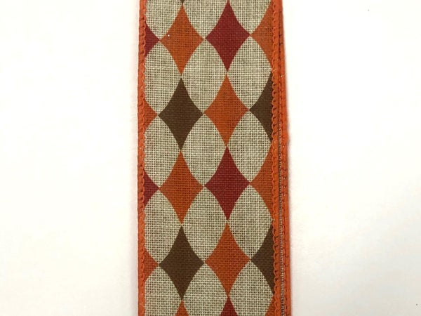 "Nat Linen/Orange-Brown Diamonds 1.5""x10yd"