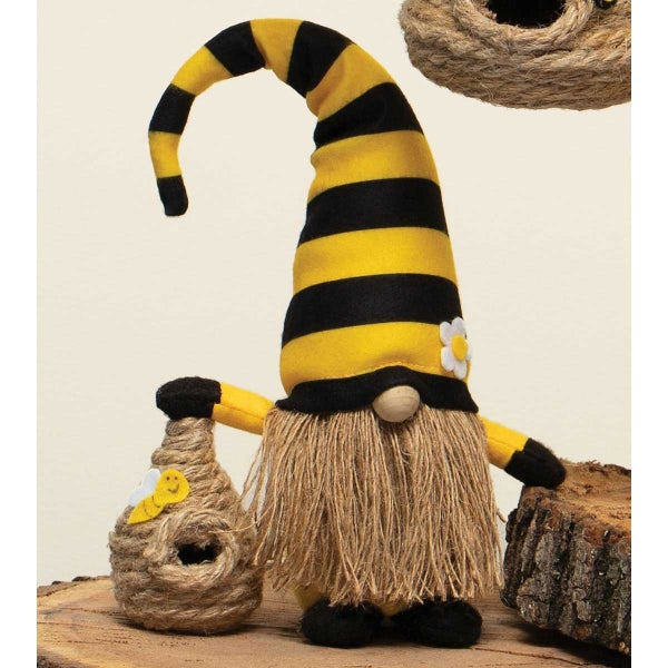 "HUMBLE BEE GNOME HOLDING A BEE SKEP WITH YELLOW/BLACK STRIPED BE HAT, WOOD NOSE, JUTE BEARD AND FEET 6""x4""x14"""