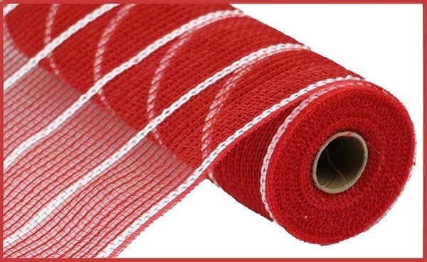 "10.5""X10yd Poly/Jute/Matte Metallic Mesh Red/White"