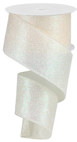 "2.5""X10yd Iridescent Glitter On Satin Ivory"