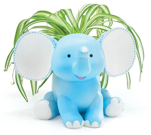 BLUE BUDDY ELEPHANT RESIN PLANTER