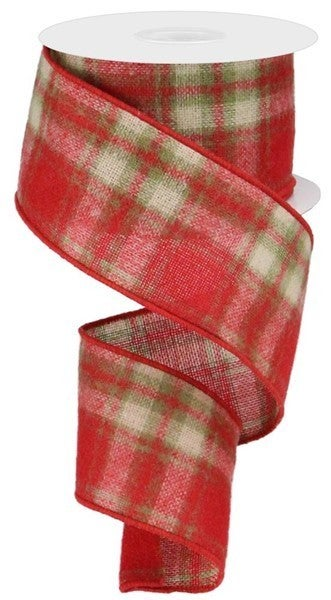 """2.5""""X10yd Woven Fuzzy Plaid Color: Red/Moss Green/Cream"""