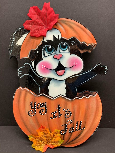 Fall Skunk Sign by Iveth Wright (Printed on Wood)