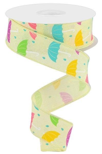 "1.5""X10yd Umbrellas On Royal Color: Ylw/Wht/Teal/Pnk/Lav/Grn"