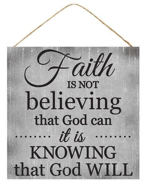 "10""Sq Faith/Knowing Sign  Grey/Black"