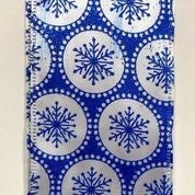 "White Shiny Satin/Royal Blue Snowflake Dots 2.5""x10yd"