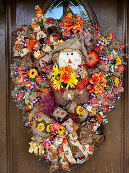 Fall Scarecrow Teardrop Swag Wreath