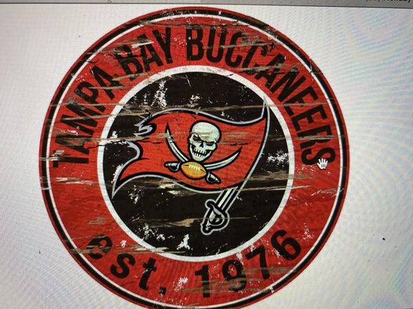 "12"" Destressed Wooden NFL Circle Sign - Tampa Bay Buccaneers"