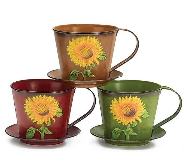 FALL TEACUP SHAPED TIN PLANTER