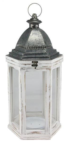 "22.5""H X 11""Dia Wood/Glass/Metal Lantern"