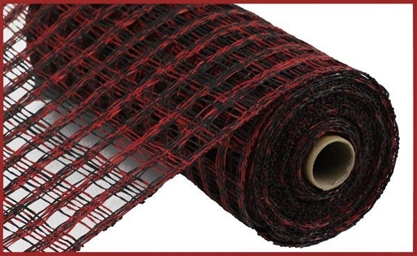 "10""X10yd Two-Tone Poly Burlap Check Mesh Red/Black"