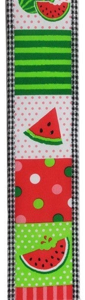 "2.5""X10yd Watermelon Block/Gingham Edge White"