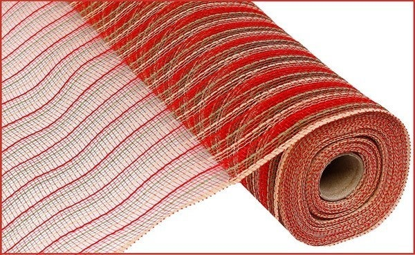 "21""X10YD POLY/FAUX JUTE MESH Color: Red/Moss Green/Natural"