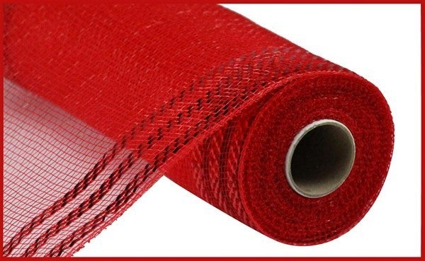 "10.25""X10yd Border Stripe Metallic Mesh Red/W/Red foil"