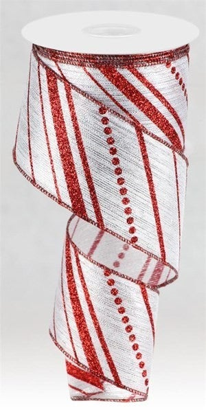 "2.5""X10yd Multi Diagonal Stripes Silver/Red"