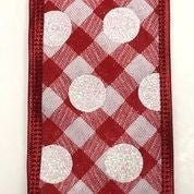 "Red-White Plaid/White Irid Glitter Dots 2.5""x10yd"