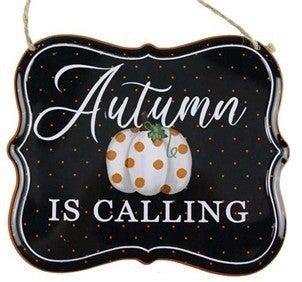 """7""""Lx6""""H Autumn Tin Sign"""