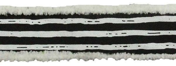 "1.5""X10yd Irregular Stripes On Royal Color: Black/White"