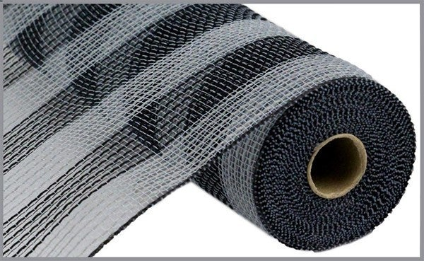 "10.5""X10yd Faux Jute/Pp Small Stripe Grey/Black"