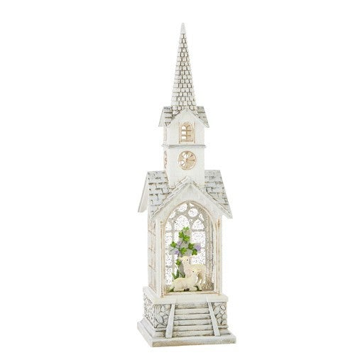 """15.25"""" Lamb with Cross Lighted Water Church"""