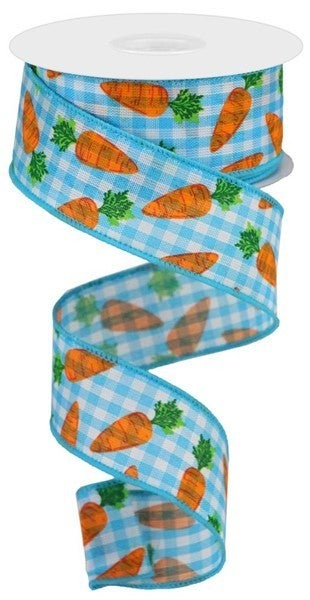 "1.5""X10yd Carrots On Gingham Check Color: Lt Blue/White/Orange/Grn"