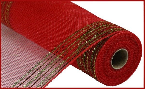 """10.5""""X10YD TINSEL/FOIL WIDE BORDER MESH Color: Red/Lime Green"""