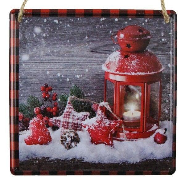 "5""Sq Snowy Lantern/Ornament Sign"