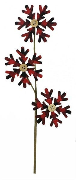 "14""L Plaid Fabric/Wood Snowflake Pick Red/Black"