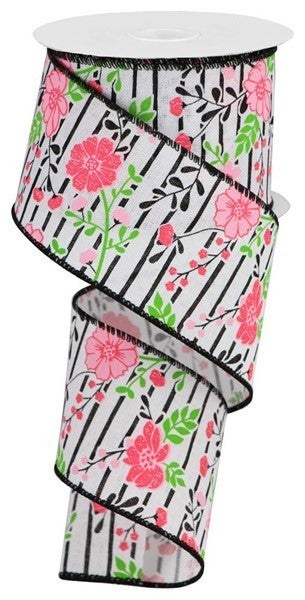 """2.5""""X10yd Floral Lines On Royal White/Multi Pink"""