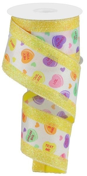 """2.5""""X10yd 3-In-1 Conversation Heart yellow"""