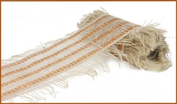 "10""X10yd Poly/Jute Stripe W/Fuzzy Ends Natural w/copper"